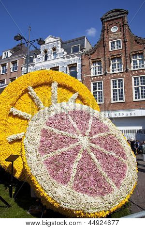 Haarlem, The Netherlands - April 21 2013: Fruit With Flowers At Flower Parade On April 21 2013 In Ha