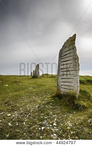 Standing Stones At Tout Quarry