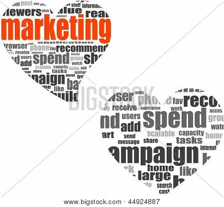 Marketing. Word Collage Set In Heart Shape. Illustration With Different Association Terms, art
