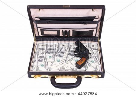 Case With Money And A Revolver