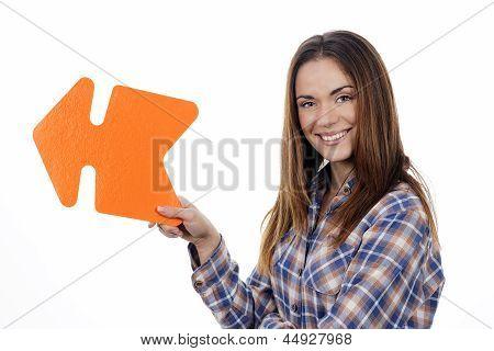 Woman Holding Orange Arrow