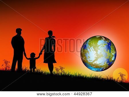 Happy young Family and globe planet Earth.Earth day.