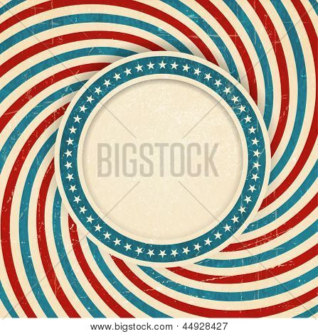 Vintage style aged USA themed grunge design with spiraling blue, red and off white rays and center label with a ring of white stars on blue background and space for your text.