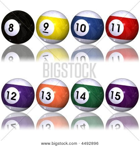 Pool Balls Set Over White