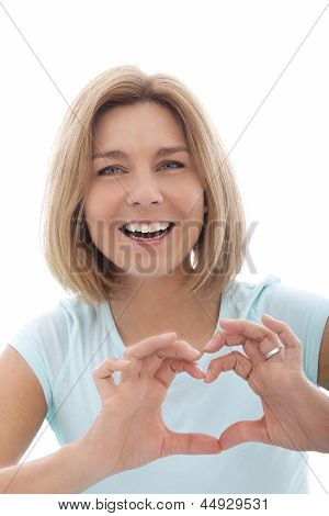 Laughing Woman Making A Heart Gesture