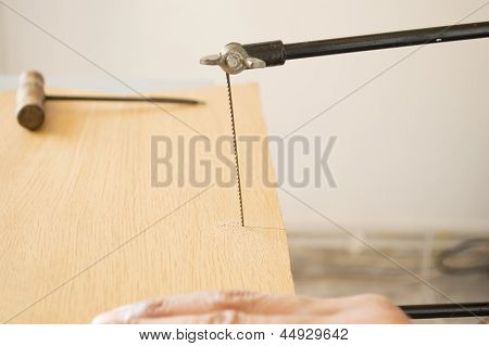 marquetry craftsman his sawing board