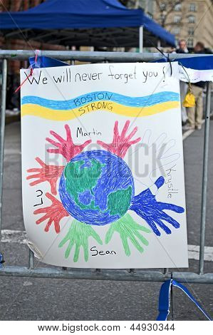 Boston - Apr 20: We Will Never Forget You As Text Near Boylston Street In Boston, Usa On April 20, 2