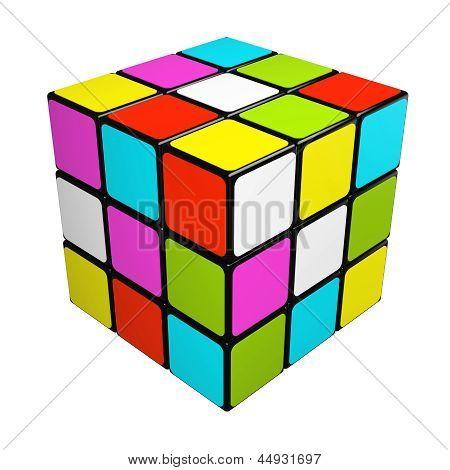 Puzzle Cube isoliert auf weißem Hintergrund