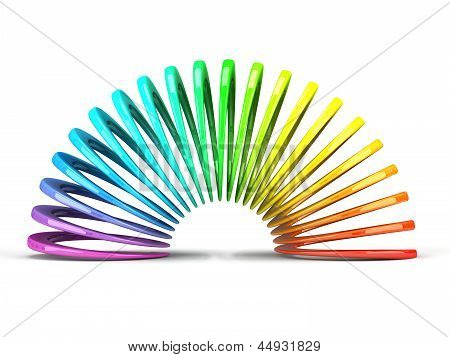 Multicolored Slinky Isolated On White Background