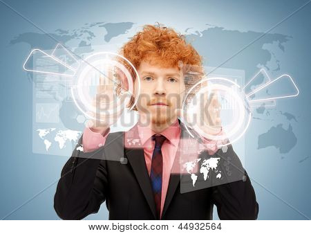 picture of eccentric businessman touching virtual screen