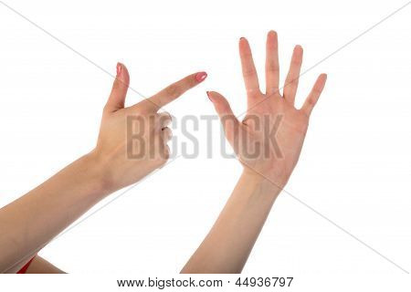 Female Hands Showing Seven Fingers Isolated On White Background