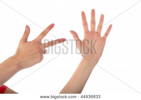 Female Hands Showing Eight Fingers Isolated On White Background