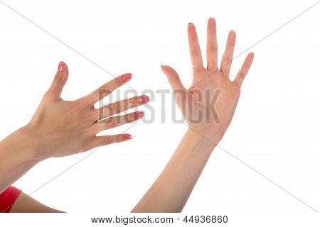Female Hands Showing Ten Fingers Isolated On White Background