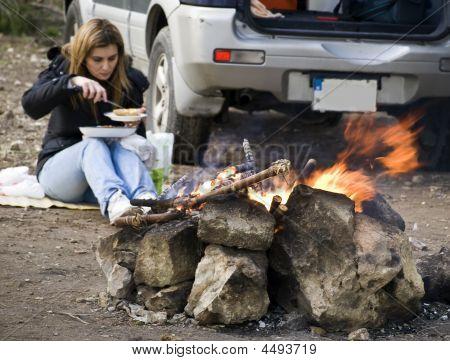 Woman And Bonfire