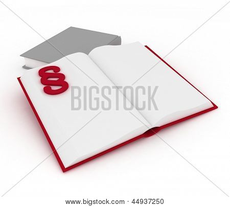 3d render illustration open book with a paragraph