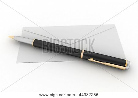 3d render illustration mail envelope and pen isolated on white background