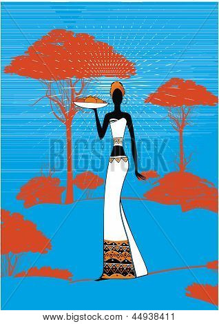 afican landscape and woman