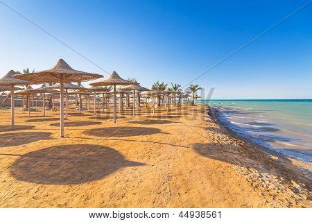 Egipcios sombrillas en la playa del mar rojo