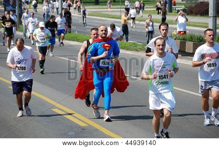 BELGRADE, SERBIA - APRIL 21: A group of marathon competitors during the 26th Belgrade Marathon on April 21, 2013 in Belgrade, Serbia