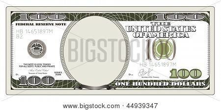 One hundred dollars. Rasterized illustration. Vector version in my portfolio