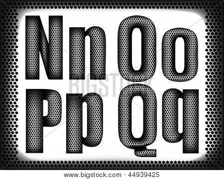 set of letters of a metal grid.Rasterized illustration