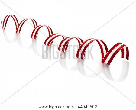 Wave Twisted Ribbon Tape close up isolated on white background