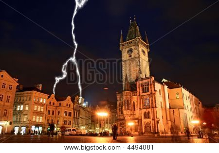 The Old Town Square At Night In Prague City