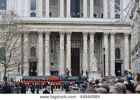 LONDON - UK, APRIL 17: The Step Lining Party lines the west steps of St Paul's Cathedral for the arrival of Baroness Thatcher's coffin, on April 17, 2013 in London.