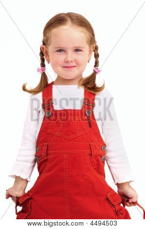 Little Girl With Braids And Red Dress