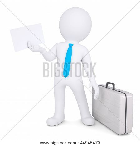 3d man with suitcase holding sheet of paper