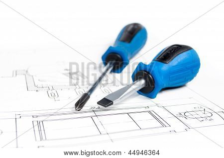 Screwdrivers On A Drawing