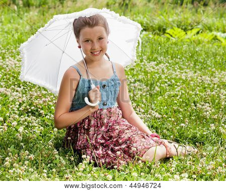 Smiling Beautiful Girl With Umbrella
