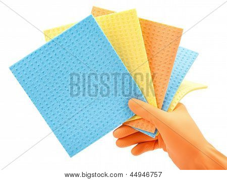 Cleaning Clothes In Hand In  Protective Glove