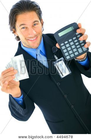Young Caucasian Businessman Holding Money And Calculator