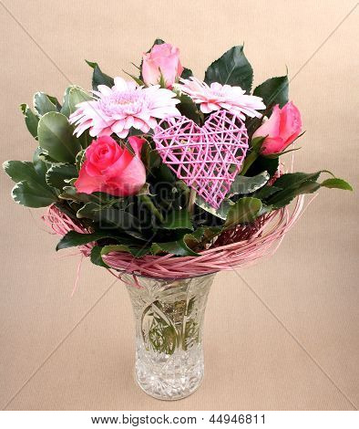 Beautiful Flower Bouquet With Roses And Heart In Vase