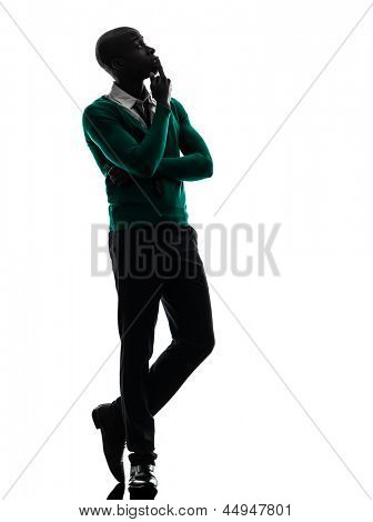 one african  black man  thinking pensive  in silhouette studio on white background