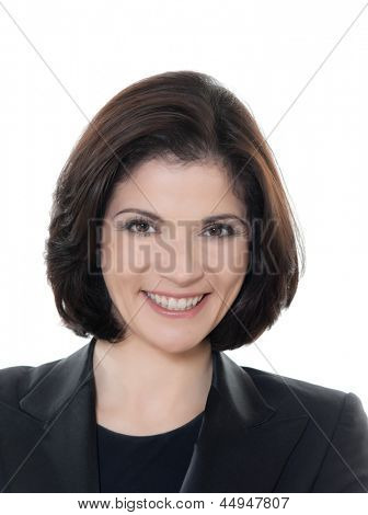 one beautiful smiling caucasian business woman portrait in studio isolated on white background