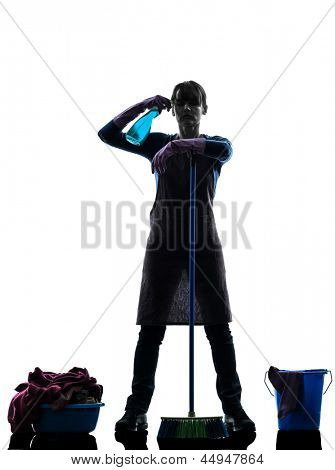 one caucasian woman maid cleaning  in silhouette studio isolated on white background