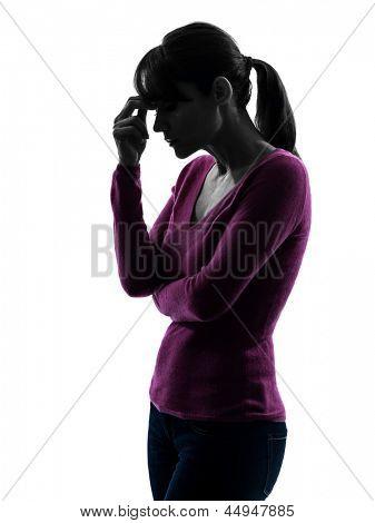 one caucasian woman migraine headache  in silhouette studio isolated on white background