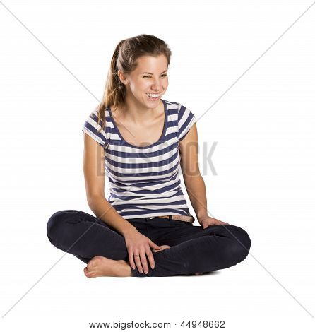 woman sitting on isolated background