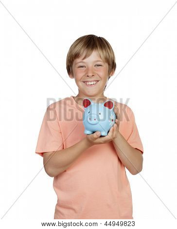 Smiling boy holding a blue piggy-bank isolated on a over white background