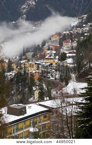 Houses And Fog In Alps Mountain Resort Village Bad Gastein