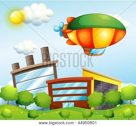 Beispiel für eine Tri-farbige Luftschiff an der Spitze der Gebäude