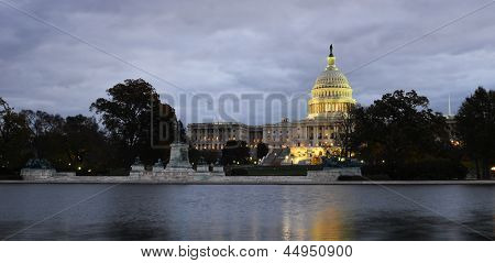 US Capitol building at night - Washington DC United States