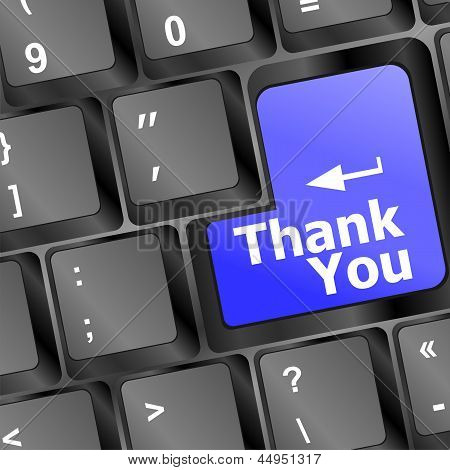 Computer Keyboard With Thank You Key, Business Concept, art illustration 3d