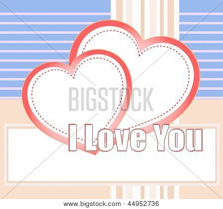 I Love You And Hearts On A Style Vector Background