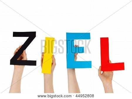 Hands Holding The German Word Ziel