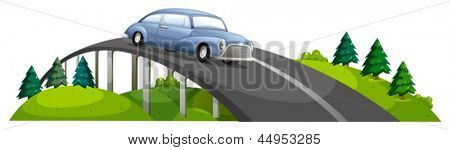 Illustration of a car passing over the bridge on a white background