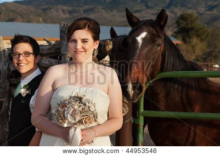 Married Gay Couple Near Horse