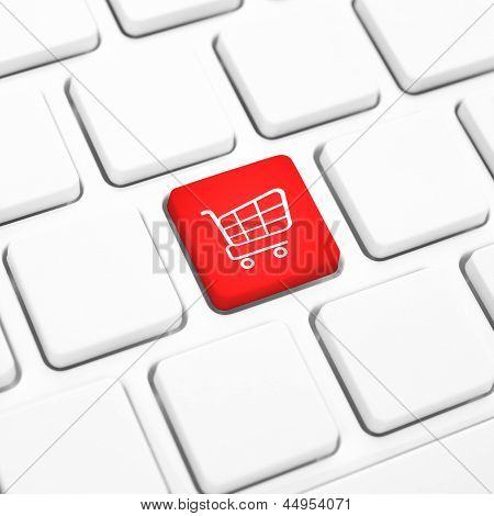 Shop Online Business Concept. Red Shopping Cart Button Or Key On Keyboard